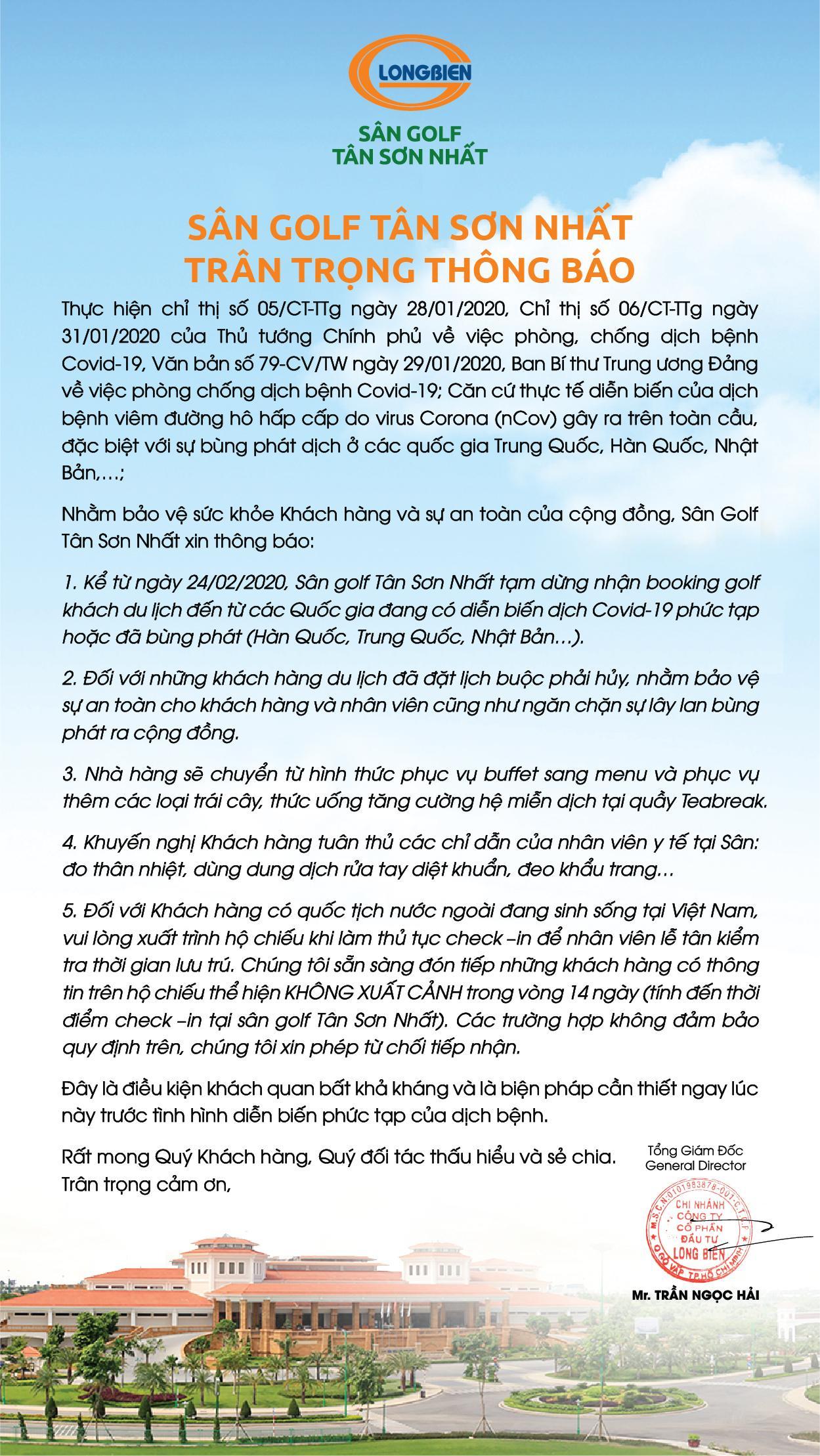 SÂN GOLF TÂN SƠN NHẤT TẠM NGỪNG NHẬN BOOKING GOLF KHÁCH DU LỊCH ĐẾN TỪ VÙNG CÓ DỊCH COVID19