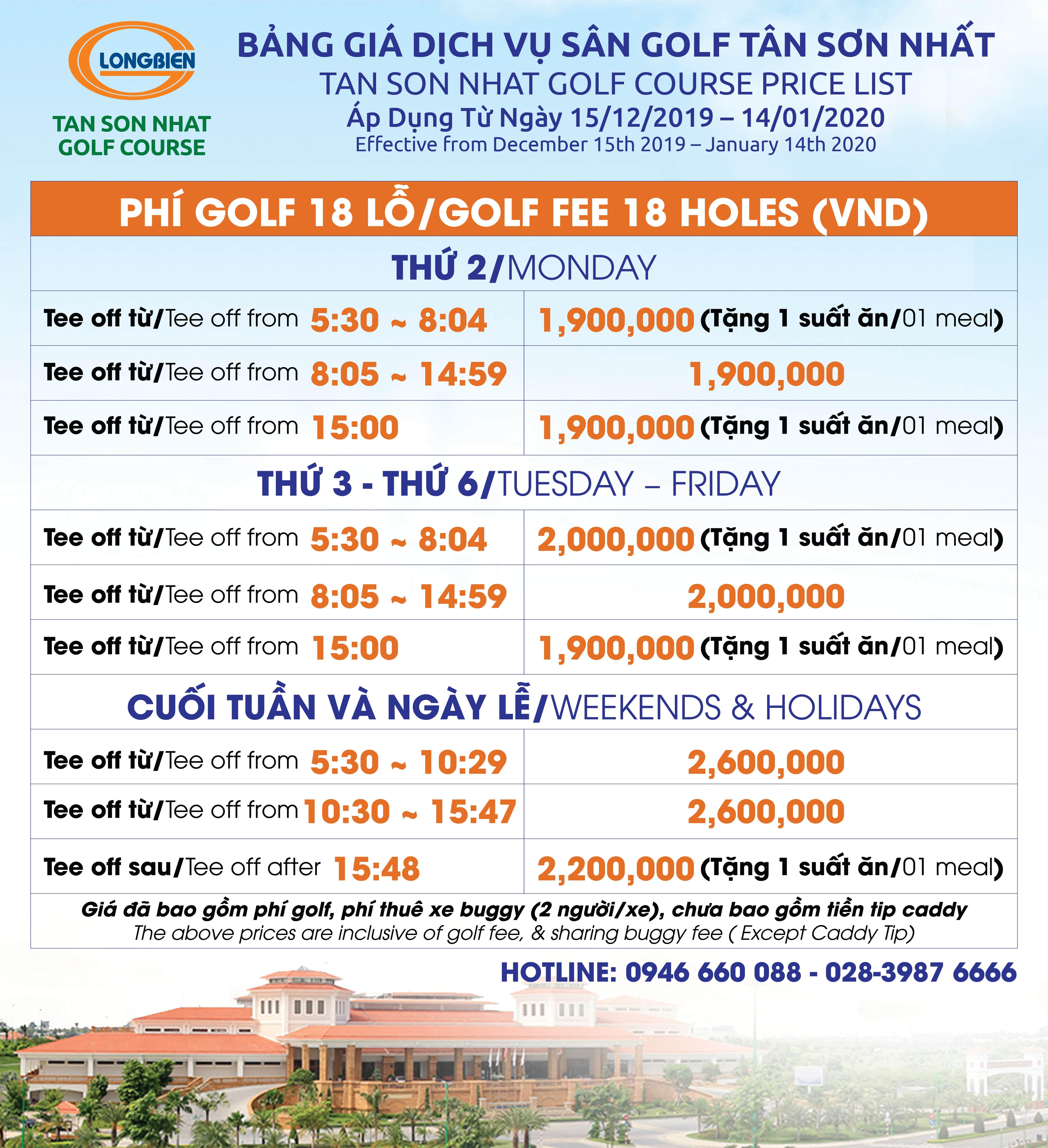 Bảng giá Dịch vụ Sân Golf Tân Sơn Nhất áp dụng từ 15/12/2019 - 14/01/2020
