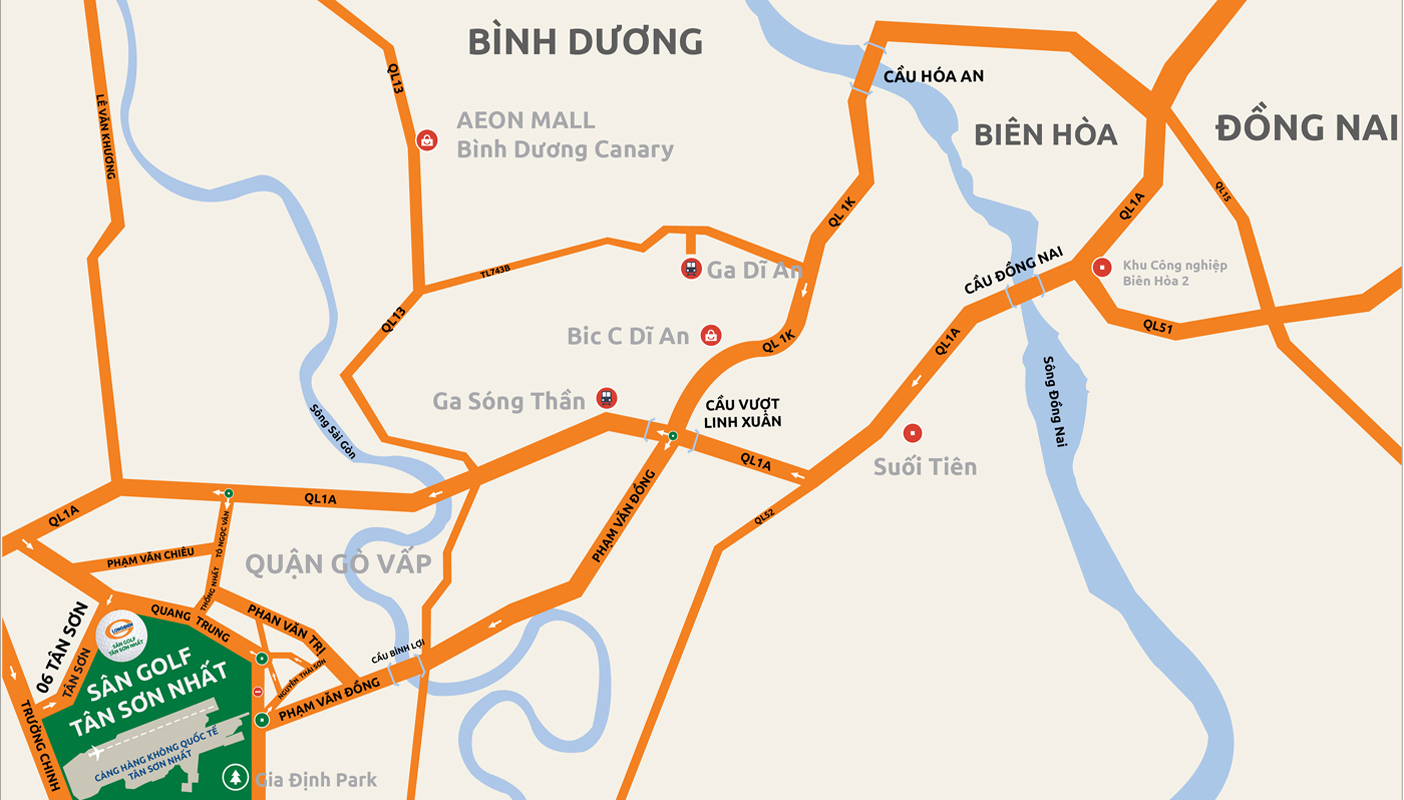 Hướng từ Bình Dương - Đồng Nai - sân golf Tân Sơn Nhất