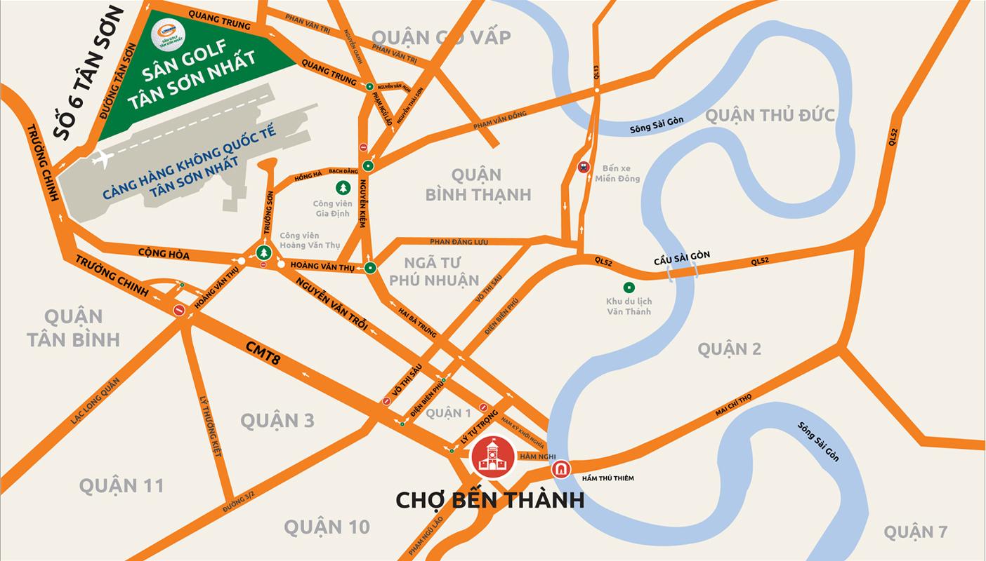 Hướng từ chợ Bến Thành - sân golf Tân Sơn Nhất